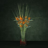 Exotic flower bouquet enterance hotel flower comosition vase glass bird of paradise